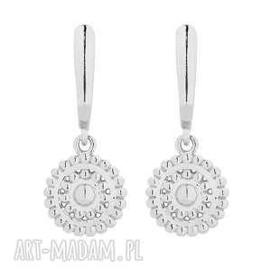 srebrne kolczyki z rozetami - srebrne kolczyki, okrągłe, minimalistyczne