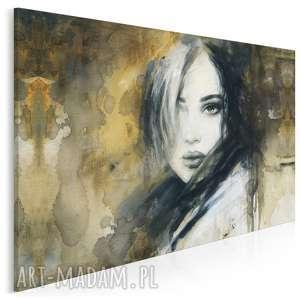 Obraz na płótnie - kobieta portret twarz artystyczny beżowy