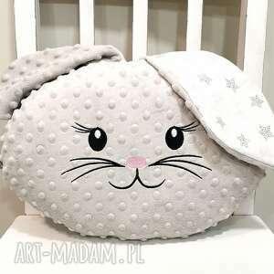 poduszka królik z minky, poduszka ozdobna do sypialni (z minky, dla)