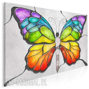 obraz na płótnie - motyl kolory mozaika 120x80 cm (86701)