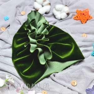 turban velvet zielony, turbanvelvet, welurowyturban, turbandzieciecy