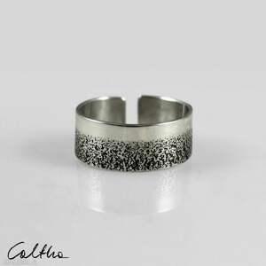 handmade obrączki piasek - srebrny pierścionek 210112 -01