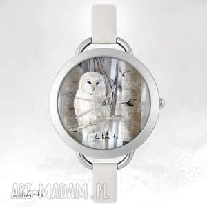 Prezent Zegarek, bransoletka - Biała sowa, zegarek, bransoletka, skórzana, etno