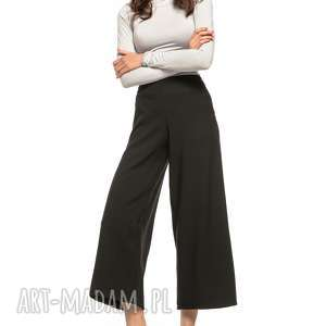 Spodnie z szeroką nogawką, T272, czarny, spodnie, wysoki, stan, szeroka, nogawka,