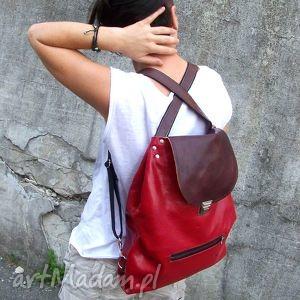 plecak torba 2w1 czereśniowa skóra, czereśniowa, naturalna, roślinna, czerwień