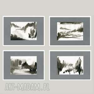 pejzaże - abstrakcje grafiki 4 x a4, grafika, abstrakcja, pejzaż, zestaw