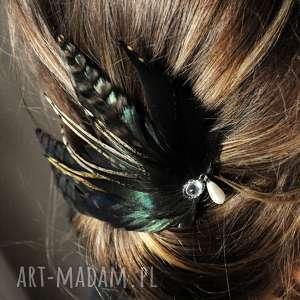 fascynator z piór,,zielona elegancja, fascynator, spinka, broszka, pióra, boho