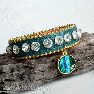 galaktyka bransoleta z zawieszką, zawieszka, cyrkonie, kryształ, butelkowa, zieleń