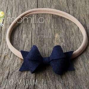 dla dziecka butterfly bow opaska do włosów granatowa, kokardka, opaska, filc, modna