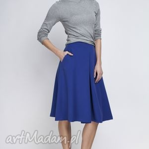 Spódnica, SP110 indygo, elegancka, rozkloszowana, kontrafałda, kobieca, matura