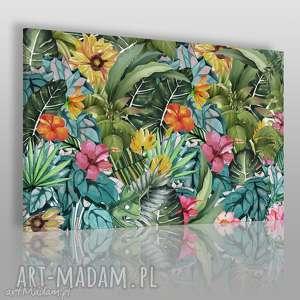 Obraz na płótnie - LIŚCIE KWIATY EGZOTYCZNY 120x80 cm (74501), liście, kwiaty