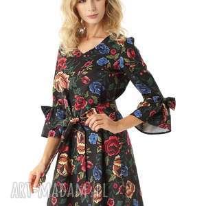 Sukienka trapezowa Melody czarna w kwiaty, sukienka-trapezowa, sukienka-oversize