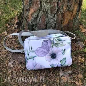 na ramię single bag - motyl kwiatach, motyl, kwiaty, prezent, święta, pakowna