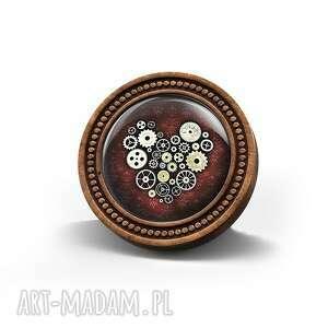broszka drewniana liliarts - steampunk heart bordo, broszka, steampunk, serce