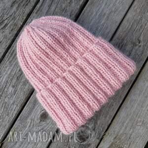 czapki moherowa pastel pink wywijana czapa zimowa jasny róż, czapka