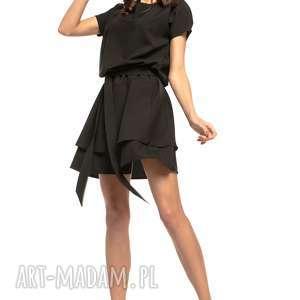 sukienki sukienka z podwójną spódnicą, t268, czarna, sukienka, elegancka