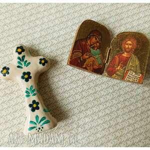 ceramika krzyżyk ceramiczny stojący ręcznie malowany, ceramika, krzyżyk, kwiaty