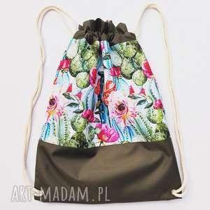 handmade plecaki plecak worek w kaktusy