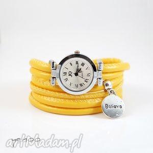 ręcznie robione zegarki zegarek, bransoletka - żółty believe