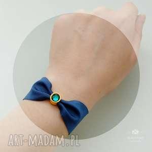 elastyczna bransoletka z kryształem granatowa, lycra, cyna, kryształ, szkło