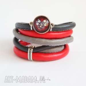 Prezent Bransoletka - Steampunk Heart- owijana, czerwona, szara, bransoletka