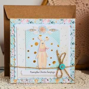 kartka - pamiątka chrztu świętego 4, kartka, chrzest, pastelowa, dziecko