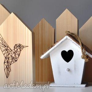 dekoracje domki w stylu skandynawskim - zestaw z ptakiem, domki, domek