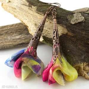 kolczyki ażurowe wiszące wielokolorowe oksydowane, kolczyki, kwiaty, kolorowe, lekkie