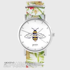 Zegarek - pszczoła kwiaty, nato, biały zegarki yenoo zegarek