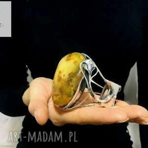 unikatowa srebrna bransoleta z bursztynem bałtyckim rękodzieło srebro 925