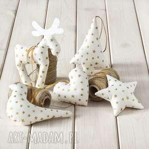 dekoracje ozdoby choinkowe białe w złote gwiazdki, 5 szt, dekoracja, prezent, bombka