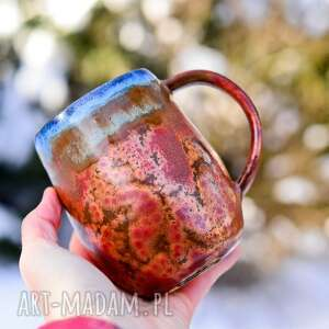 ceramika oryginalny duży kubek miedzianym i niebieskim, 600 ml