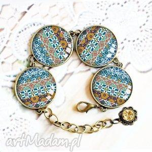 bransoletki blue etno śliczna efektowna duża bransoleta, grafiką, szkło, etniczna