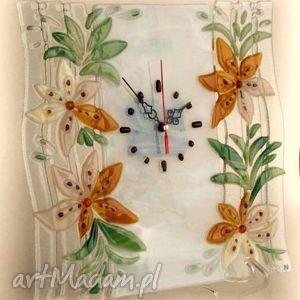 zegary artystyczna kompozycja ze szkła - zegar delikatne kwiaty, szklo, kwiaty