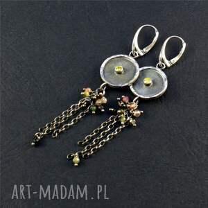 świąteczny prezent, turmalin i kolorowe gronka, srebrne kolczyki, długie