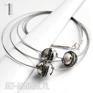 Prezent Bianco XIX srebrny naszyjnik z perłą majorka, srebro, wirewrapping