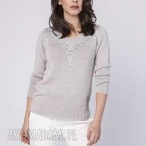 Elegancki sweterek, swe142 szary mkm swetry dzianinowy
