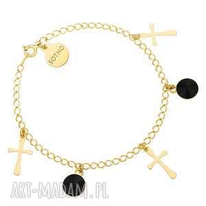 złota bransoletka z krzyżykami i czarnymi kryształami - kryształy