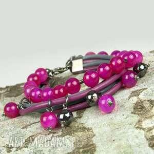 b273 bransoletka srebrna z różowych agatów - bransoletka, kobieca