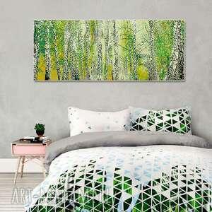 obraz na płótnie pejzaż brzozy 150 x 60, drzewa obraz, drzewa, nowoczesny