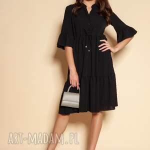 sukienki sukienka z falbanami - suk197 czarna, falbankami, summer