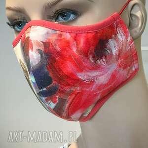 maseczka wielokrotnego użytku czerwony wzór, maseczka, ochrona, koronawirus