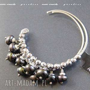 Srebro, kolczyki - naturalne czarne perły anetta zimnicka perły
