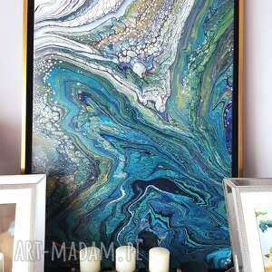 wielka głębia obraz ręcznie malowany 50x70 akryl technika pouringu, turkus