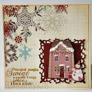unikalny prezent, scrapbooking kartki zimowy domek, święta, kartka, handemade