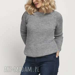 lanti urban fashion raglanowy sweter, swe126 szary, ciepły, wyjątkowy