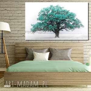 obraz drzewo 28 turkus - 120x70cm na płótnie do salonu, drzewo, płótno