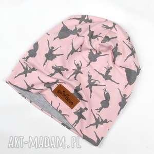 kolorowa ciepla czapka beanie baletnice pudrowy róż - ciepła, czapka