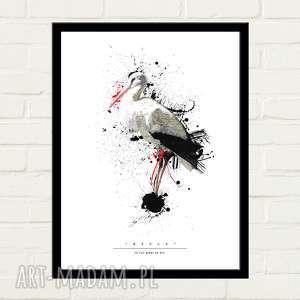 STORK PAINTED Plakat 50x70, plakat, minimalizm, bocian