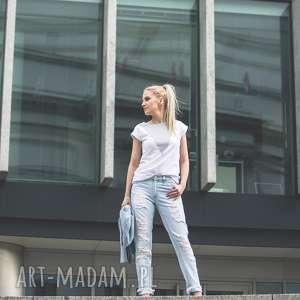T-SHIRT - KOSZULKA LONELY SHAPE GREY, biała, koszulka, t-shirt, bawełna, trójkąty